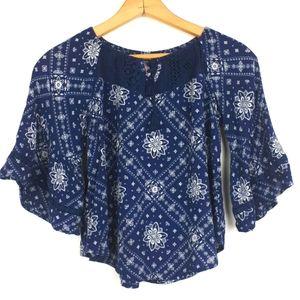 Justice Blue & White Boho Style Tunic Size 12